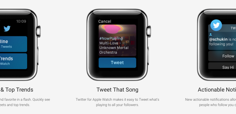 twitter watch app shows nonexistent functions