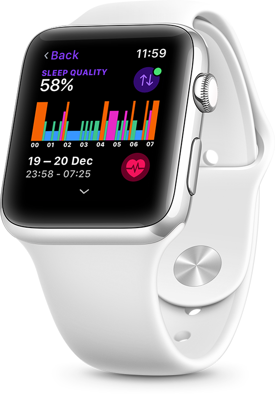 Sleep patterns on an Apple Watch when you let Pillow track sleep