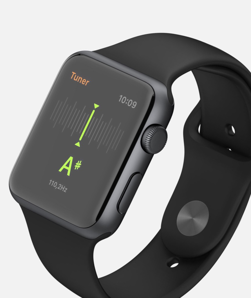 Tune stringed instruments with apple watch